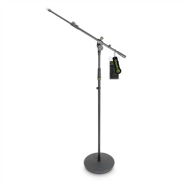 Gravity MS 2322 B - Mikrofonständer mit Tellerfuß und 2-Punkt Galgen lang