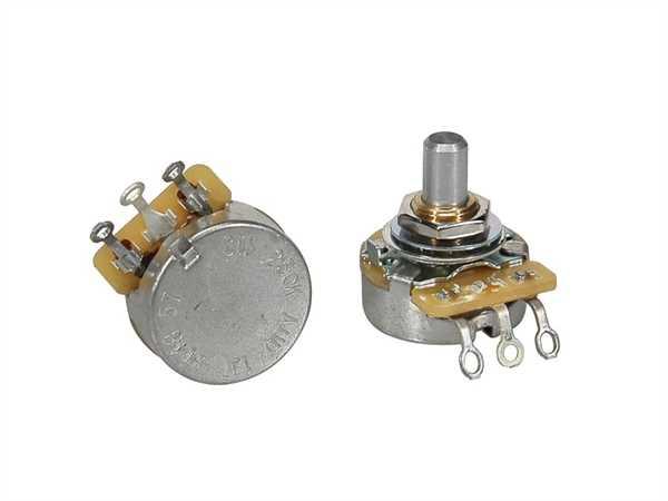 """CTS-250 A57 Poti Logarhytmisch (Volumen) 250 KOhm Schaftlänge: 1/4"""" (6,35mm) Solide Welle"""