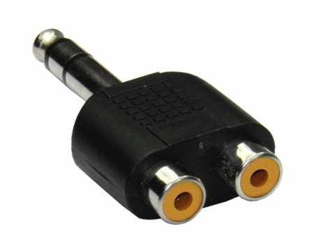 Y-Adapter 2x Cinchbuchse / 1x Klinkenstecker 6,3mm