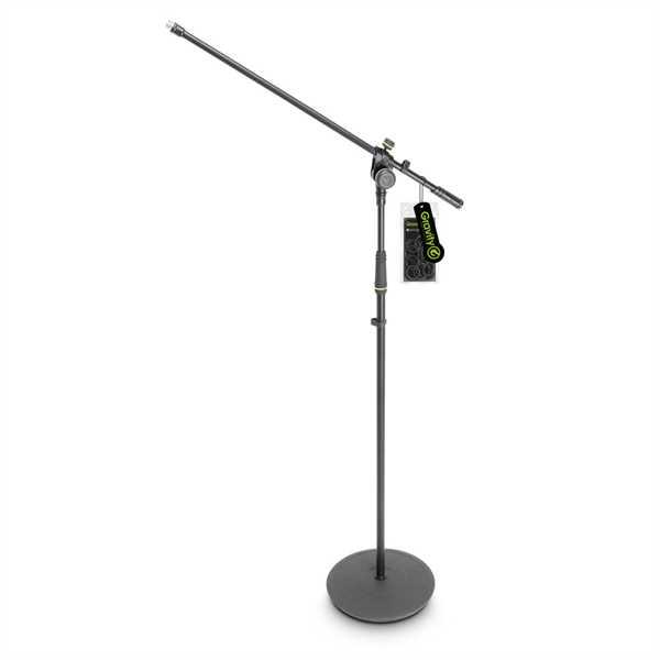 Gravity MS 2321 B - Mikrofonständer mit Tellerfuß und 2-Punkt Galgen