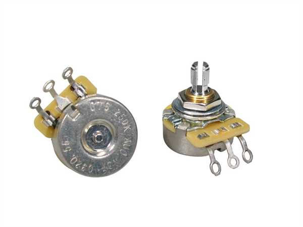 """CTS-250 A56 Poti Logarhytmisch F-Style (Volumen) 250 KOhm Schaftlänge: 1/4"""" (6,35mm)"""