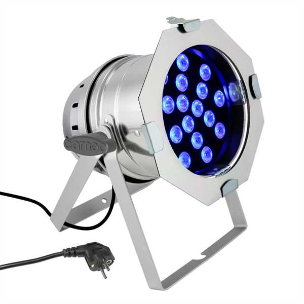 Cameo PAR 64 CAN - 18x3 W TRI Colour LED - silber