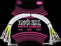 ERNIE BALL Patchkabel, gewinkelt/gewinkelt, weiß, 30cm, 3er Pack