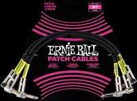 ERNIE BALL Patchkabel, gewinkelt/gewinkelt, schwarz, 30cm, 3er Pack