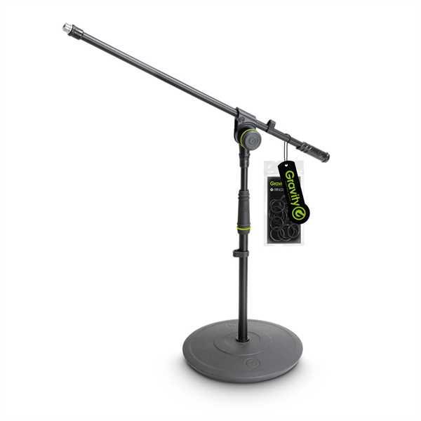 Gravity MS 2211 B - Mikrofonständer kurz mit Tellerfuß und 1-Punkt Galgen