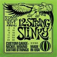 """Ernie Ball 2230 """"Slinky"""" E-Gitarren Saitenset 12-saitig .008-.040"""