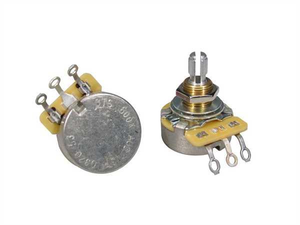 """CTS-500 A53 Poti Logarhytmisch (Volumen) 500 KOhm Standard Schaftlänge: 3/8"""" (9,52mm)"""