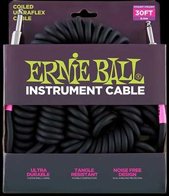Ernie Ball Instrumentenkabel, Spiralkabel gerade/gerade, schwarz, 9,14m