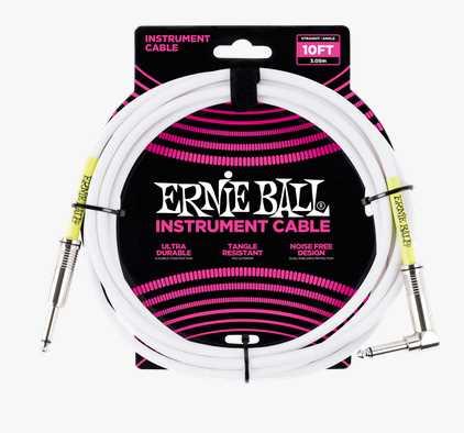Ernie Ball Gitarrenkabel weiß 3,04m Winkelklinke