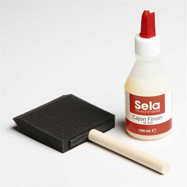 Sela® Cajon Finish Set Cajon-Lack und spezieller Pinsel