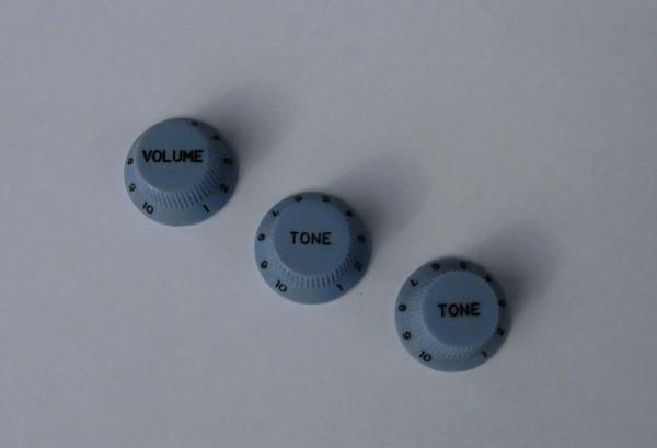 Allparts PK 1x Volume-/ 2x Tone-Potiknopf, Set, blass blau