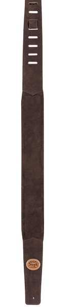 Steph GT-108 Brown, Gitarrengurt, Wildleder, gepolstert, 7cm