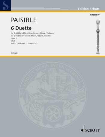 Paisible 6 Duette op.1 Band 1 : für 2 Altblockflöten Spielpartitur