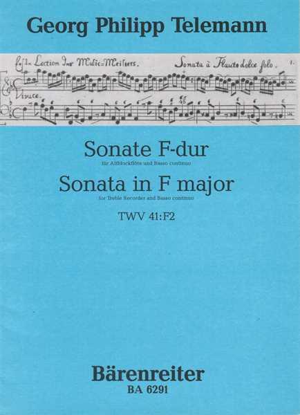 Antiquariat Georg Philipp Telemann Sonate für Blockflöte (Flöte) und Continuo in F-Dur