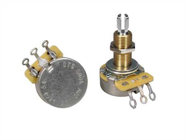 """CTS-500 A54 Poti Logarhytmisch (Volumen) 500 KOhm, Schaftlänge: 3/4"""" (19,05mm)"""